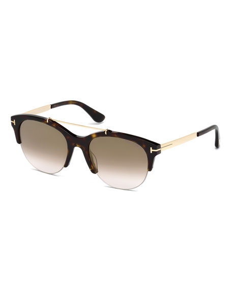 Adrenne Gradient Semi-Rimless Brow-Bar Sunglasses, Brown