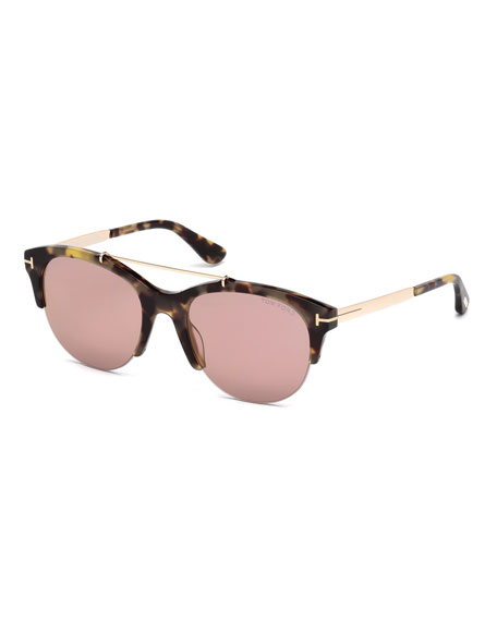 TOM FORD Adrenne Mirrored Semi-Rimless Brow-Bar Sunglasses, Brown