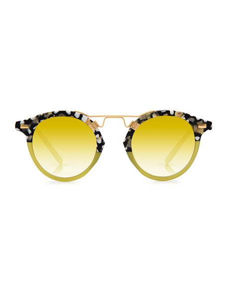 St. Louis Round Mirrored Sunglasses, Green