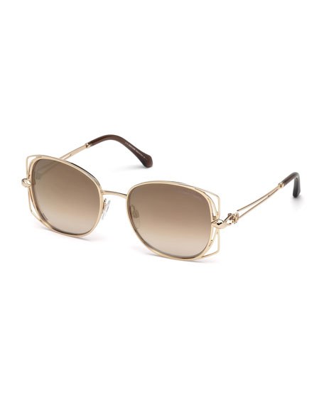 Roberto Cavalli Square Metal Open-Inset Sunglasses, Rose Gold