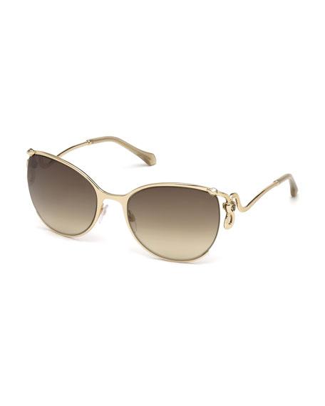 Roberto Cavalli Semi-Rimless Square Snake Sunglasses, Rose Gold