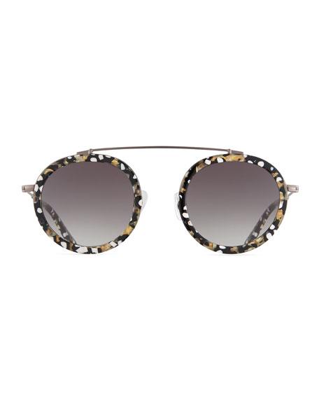 Conti Gradient Aviator Sunglasses, Black/White/Gold