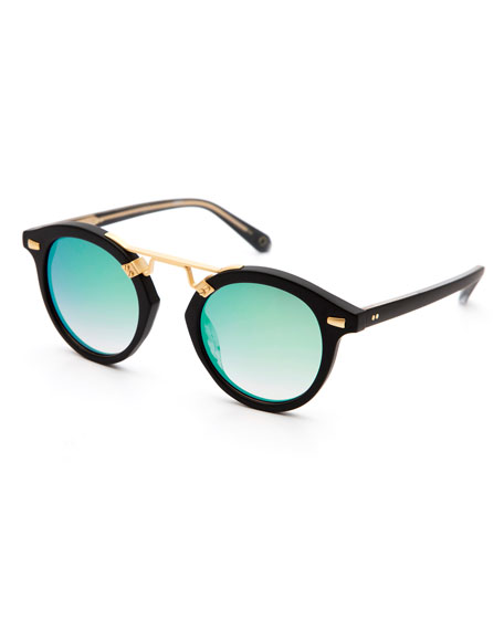 STL II Round Iridescent Sunglasses, Black