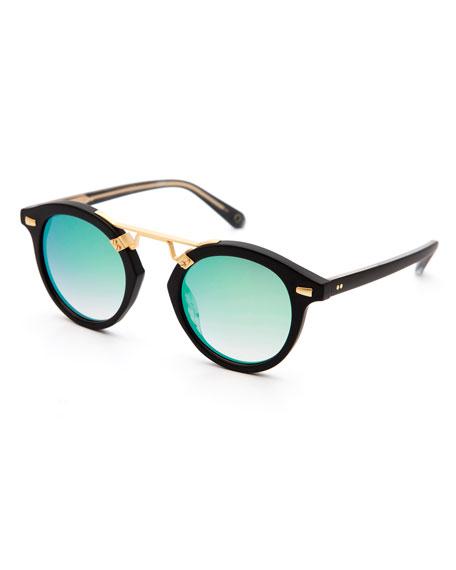 STL II Round Iridescent Sunglasses, Black