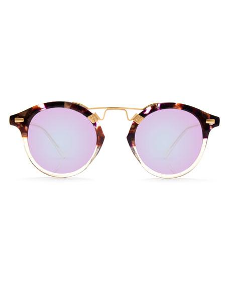 St. Louis Round Mirrored Sunglasses, Tortoise/Purple/Champagne