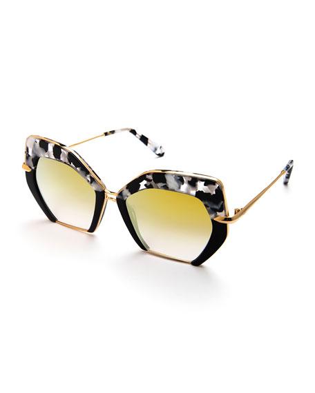 KREWE Octavia Geometric Two-Tone Sunglasses, Black