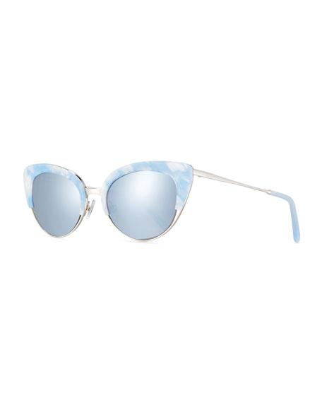 Josephine Mirrored Cat-Eye Sunglasses, White