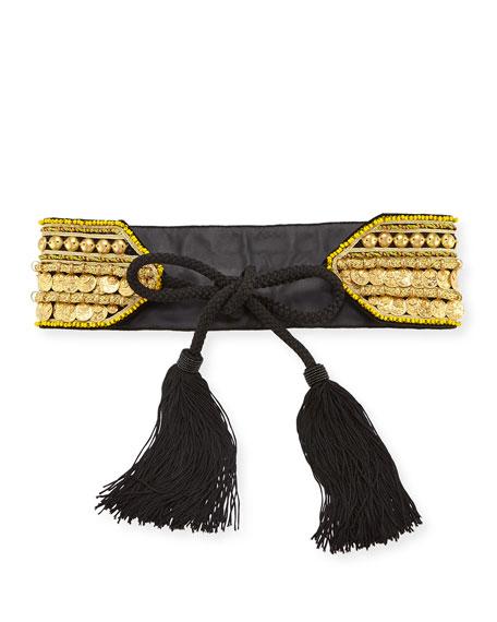 Golden Coin Tassel-Tie Belt