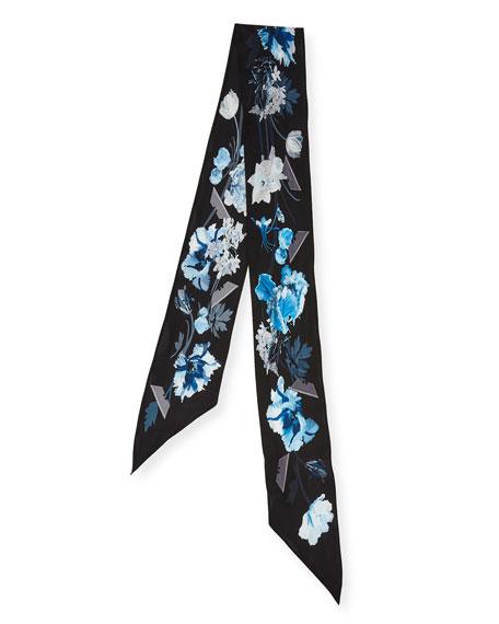 Floral Super Skinny Silk Scarf, Blue/Black