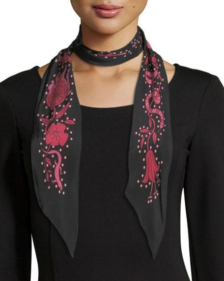 Roses Classic Skinny Silk Scarf, Black
