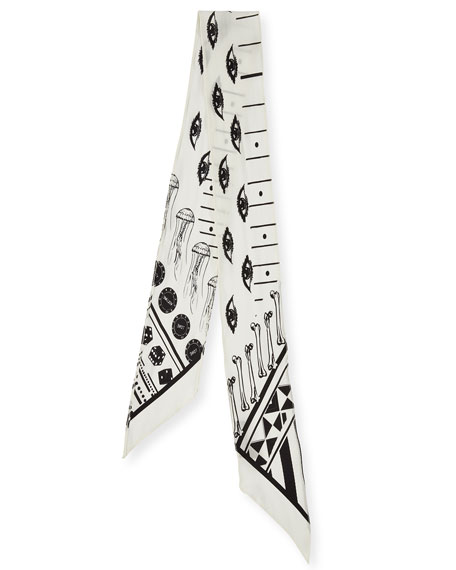 Eye Super Skinny Silk Scarf, Ivory/Black