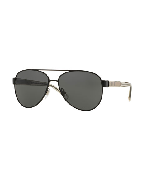 Burberry Metal Check-Trim Aviator Sunglasses, Matte Black