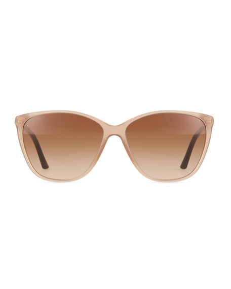 Check Square Sunglasses, Tan