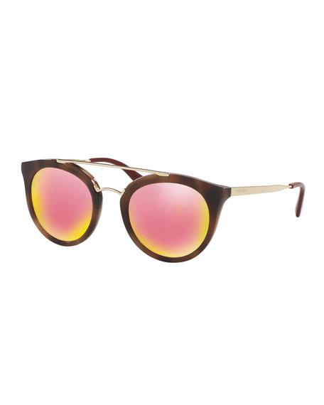 Iridescent Cat-Eye Double-Bridge Sunglasses