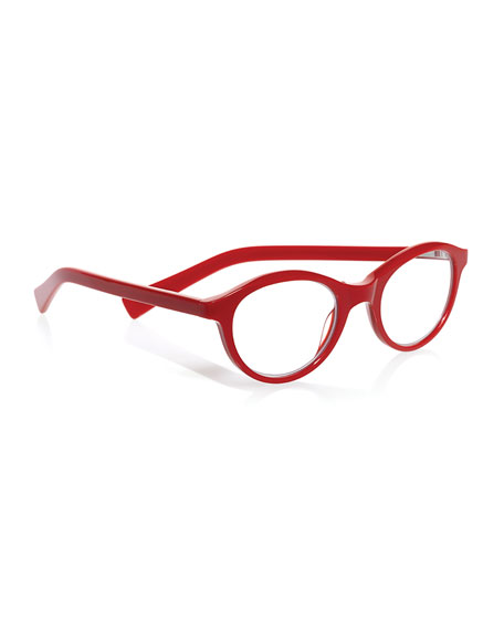 Soft Kitty Rounded Cat-Eye Readers, Red