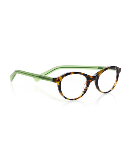 Soft Kitty Two-Tone Rounded Cat-Eye Readers, Brown/Green