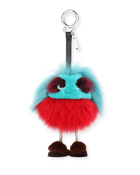 Fendi Dad Bag Charm, Blue/Red