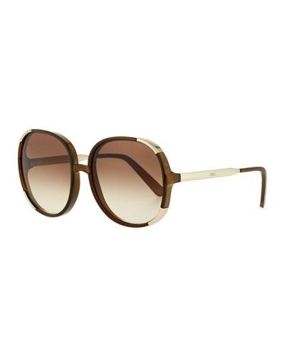 Myrte Capped Square Sunglasses, Neutral