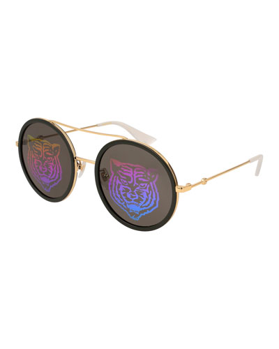 Angry Cat Metal & Acetate Round Sunglasses