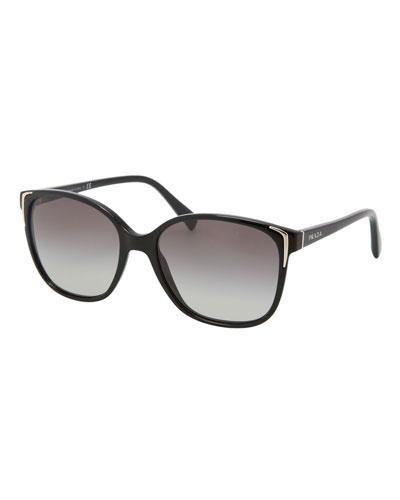 Square Gradient Arrow-Edge Sunglasses