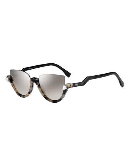 Fendi Blink Half-Rim Crystal Cat-Eye Sunglasses