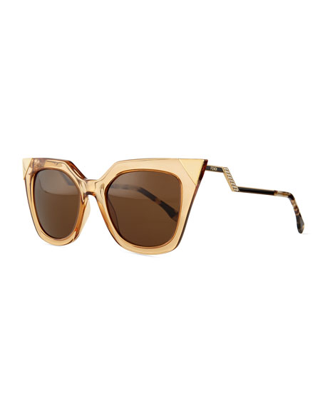 Iridia Flash Sunglasses with Mirror Lens, Light Golden