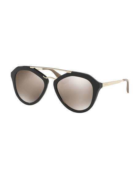 Mirrored Geometric Sunglasses, Black/Gold