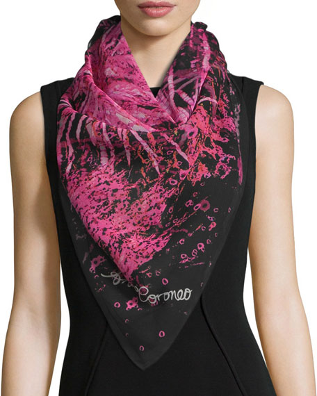 Lava-Print Silk Square Scarf, Pink