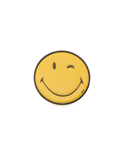 Wink Smiley Face Leather Sticker for Handbag