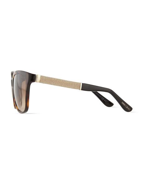 Cora Crystal-Temple Square Sunglasses, Havana