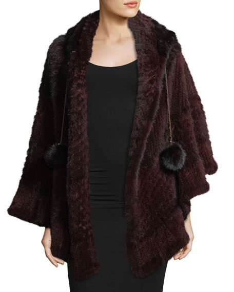 Colorblock Mink Fur Poncho, Brown