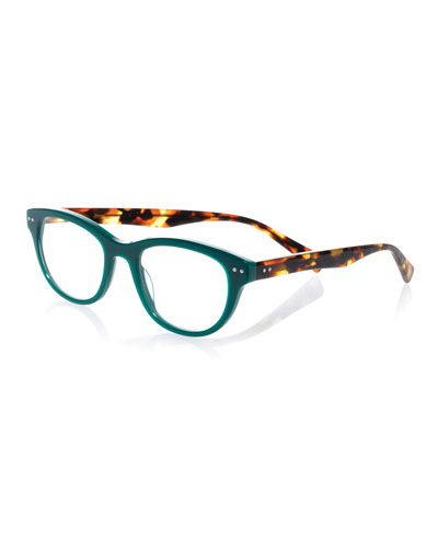 Sugar Square Colorblock Readers  Green/Tortoise