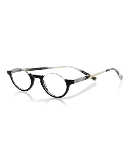 EYEBOBS Vice Chair Semi-Rimless Acetate Readers, Black/Horn