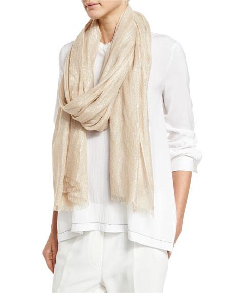 Metallic Cashmere-Blend Knit Scarf