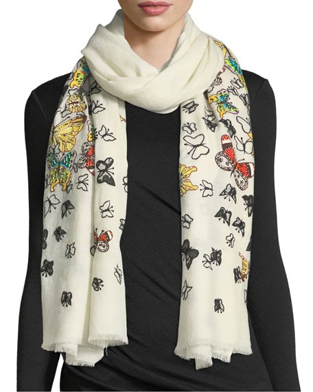 Embellished Butterfly Wool Stole