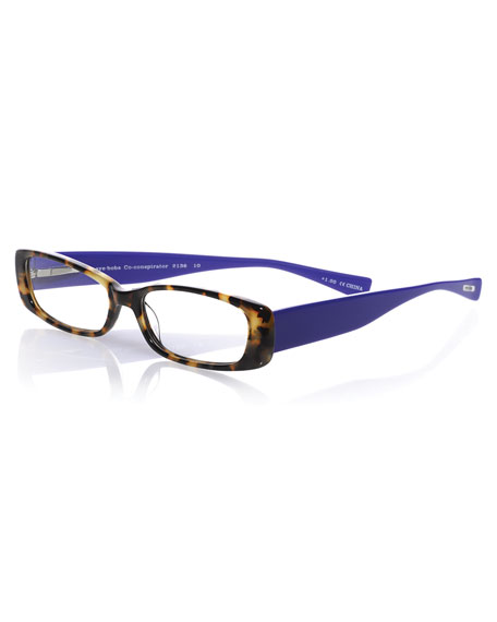 EYEBOBS Co-Conspirator Rectangular Two-Tone Readers, Tokyo Tortoise/Violet in Red
