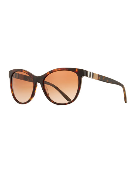 Check-Trim Cat-Eye Sunglasses