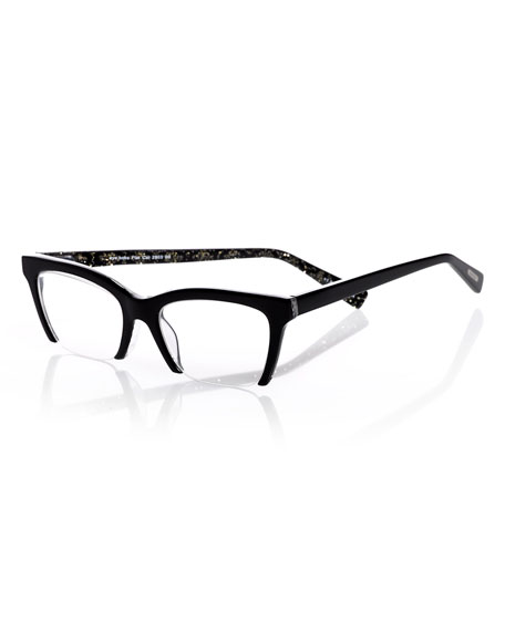 Flat Cat Semi-Rimless Cat-Eye Readers, Black/Gold