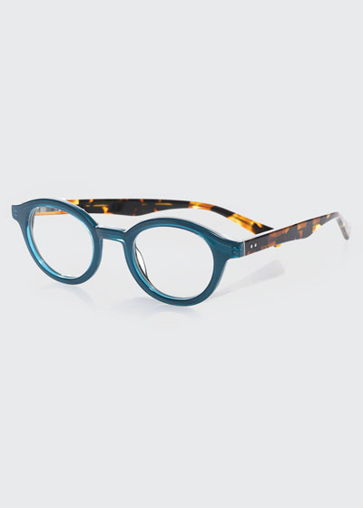 TV Party Round Two-Tone Readers, Blue/Tortoise