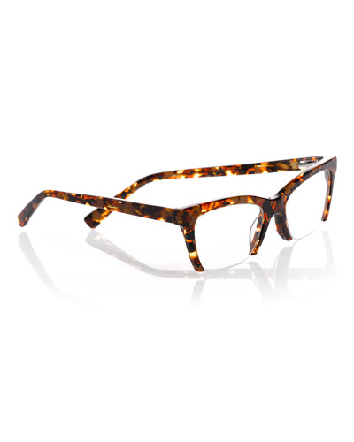 Flat Cat Semi-Rimless Cat-Eye Readers, Tortoise