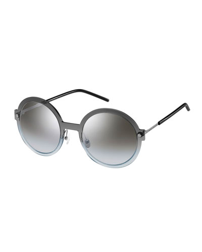 Round Mirrored Plastic/Metal Sunglasses