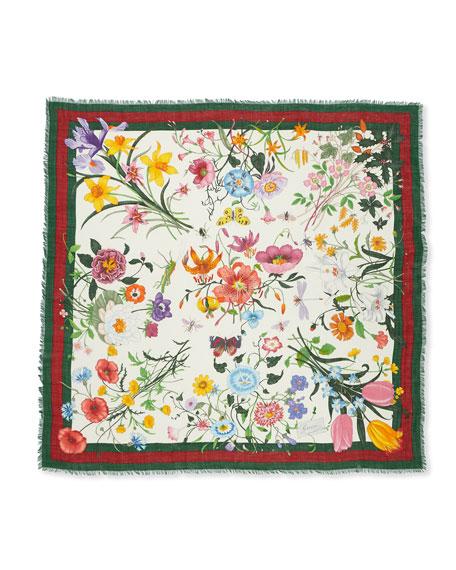 Flora Web Wool & Silk Shawl