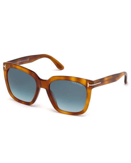 Amarra Square Acetate Sunglasses, Havana/Blue