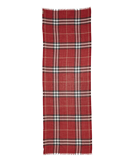 Giant Check Gauze Scarf, Red