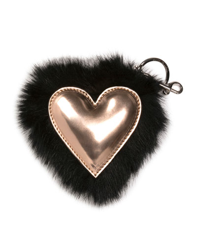 Faux-Fur Heart Key Ring