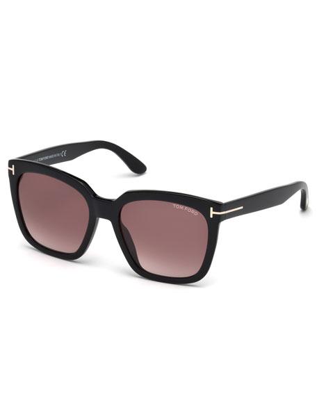 Amarra Square Acetate Sunglasses, Black/Burgundy
