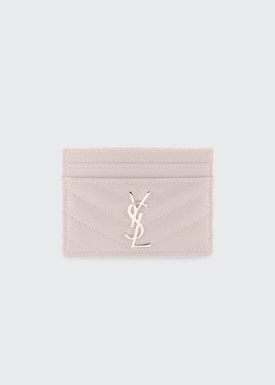 YSL Monogramme Grain de Poudre Leather Card Case  Silvertone Hardware
