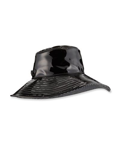 Patent Faux-Leather Rain Hat