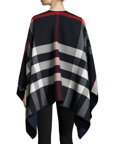 Charlotte Reversible Solid/Check Cape, Navy