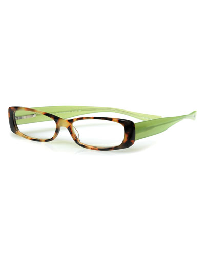 Co-Conspirator Rectangular Two-Tone Readers, Tortoise/Green